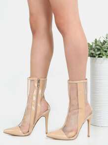 High Shaft Mesh Ankle Boots NUDE