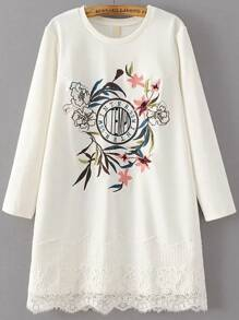 White Flower Embroidery Lace Hem Dress