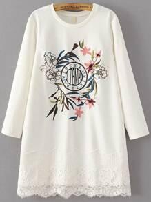 White Flower Embroidery Lace Hem Dress