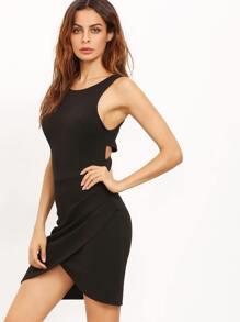 Black Cutaway Sleeveless Wraparound Rouched Bodycon Dress