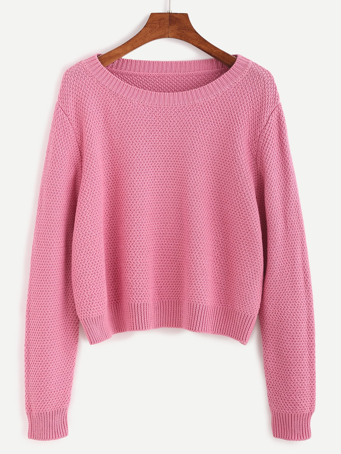 Pink Ribbed Trim Textured Pullover Sweater sweater160920465