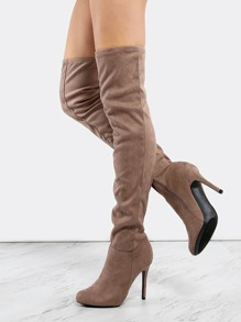 Faux Suede Stiletto Thigh Boots TAUPE