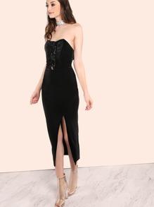 Strapless Bustier Lace Up Velvet Slit Dress BLACK