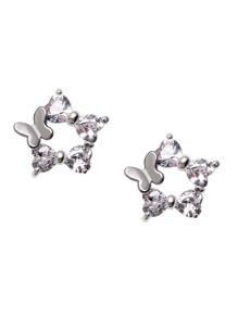 Silver Butterfly Rhinestone Stud Earrings