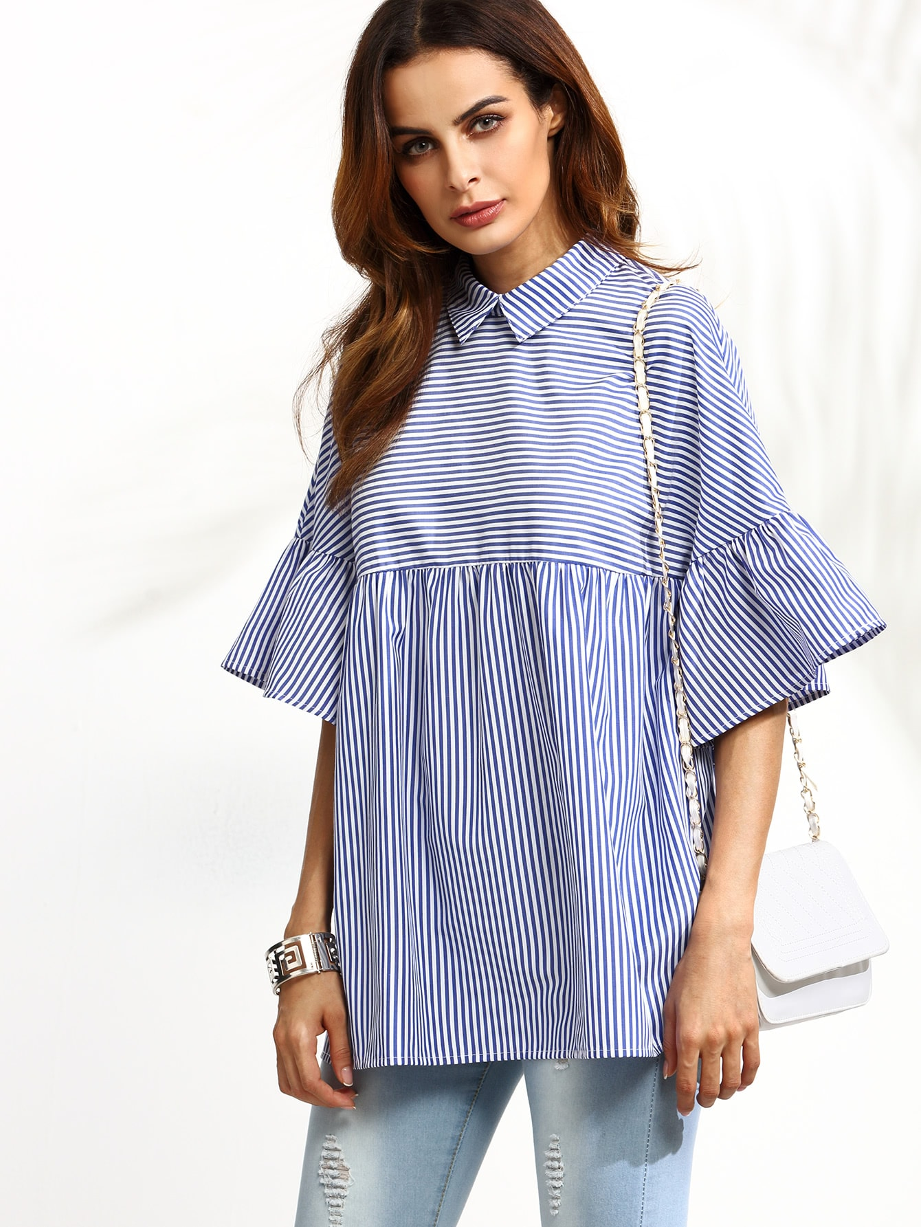 Pinstriped Frill Sleeve Babydoll Blouse blouse160906503