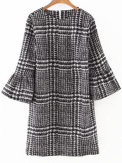 Houndstooth Print Bell Sleeve Dress