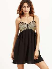 Black Spaghetti Strap Sequined Dress