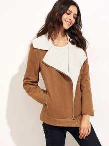Camel Faux Shearling Asymmetric Zip Jacket