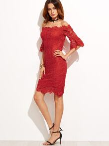 Red Off The Shoulder Crochet Trim Sheath Dress