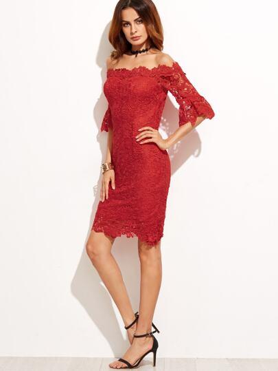 Red Off The Shoulder Crochet Trim Sheath Dress