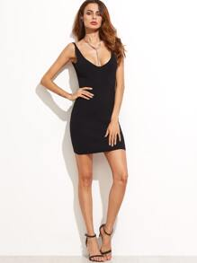 Black Scoop Neck Backless Bodycon Knitted Dress
