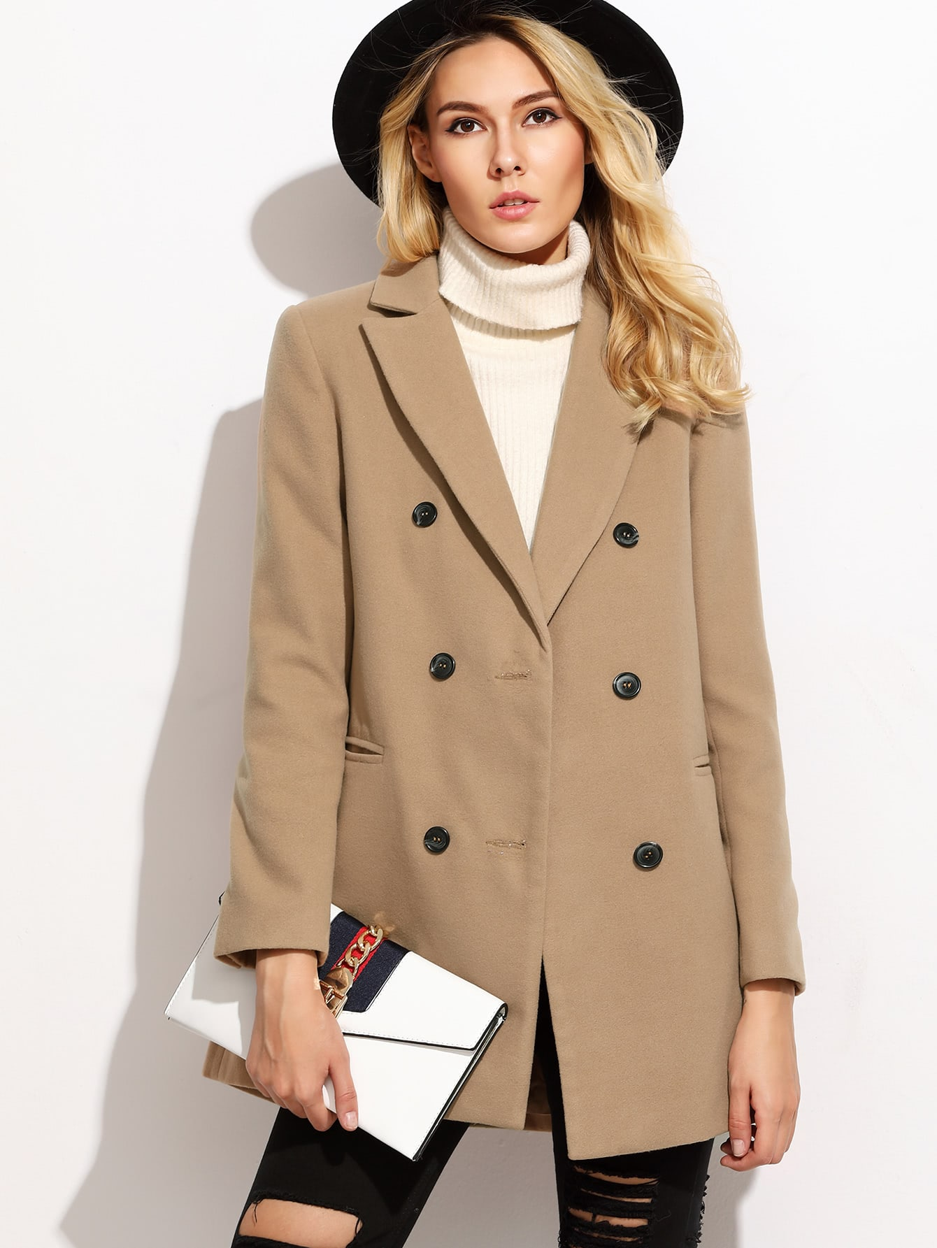 Camel Double Breasted Coat With Welt Pocket colorblock double breasted coat