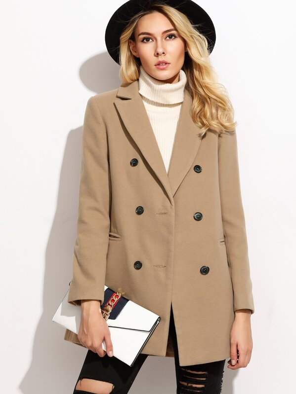 Camel Double Breasted Coat With Welt Pocket, Yana
