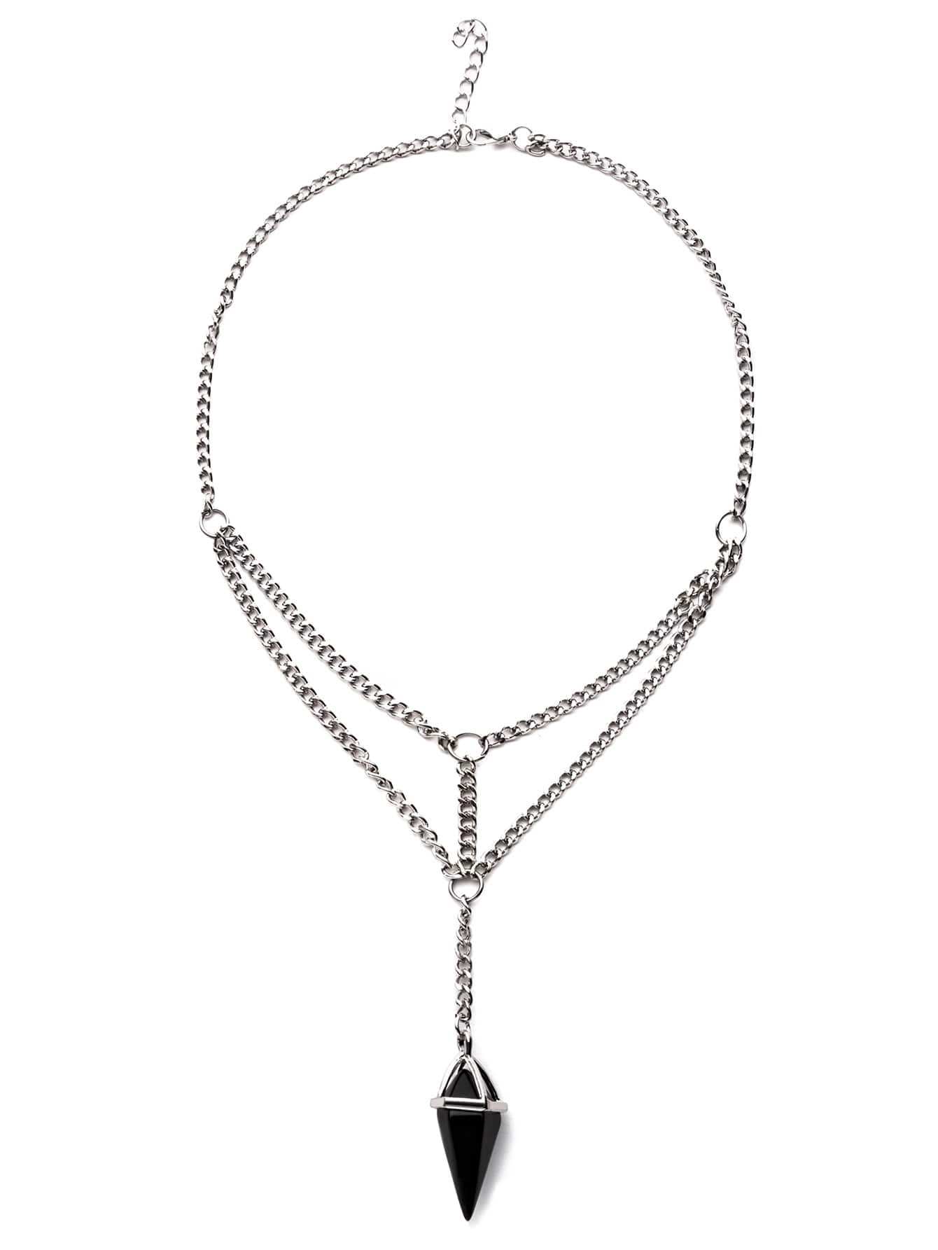 Image of Antique Silver Layered Crystal Pendant Necklace