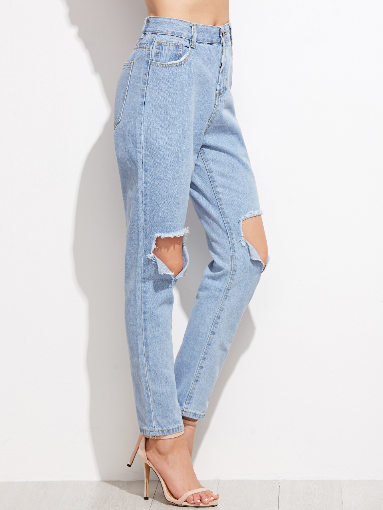 Light Blue Ripped Ankle Denim Jeans