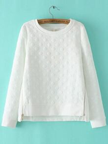 White Polka Dot Zipper Side High Low Sweatshirt