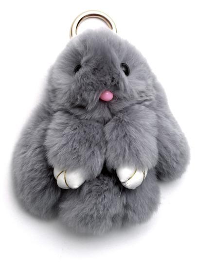 Light Grey Fluffy Bunny Keychain