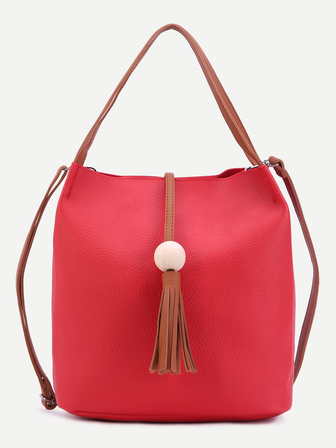 Red PU Tassel Trim Convertible Tote Bag Image