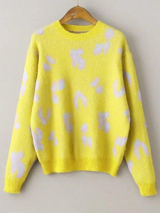 Yellow Leopard Print Ribbed Trim Sweater sweater160928204