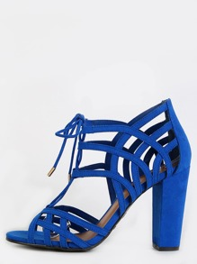 Caged Open Toe Suede Heels COBALT