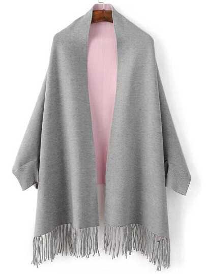 Grey Batwing Sleeve Fringe Hem Poncho Sweater