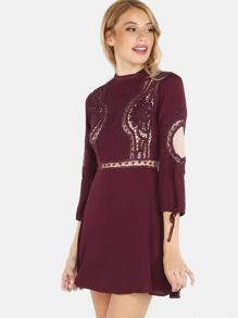 Crochet Lace Sleeve Dress WINE