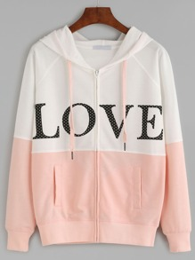Color Block Letter Print Raglan Sleeve Hooded Sweatshirt