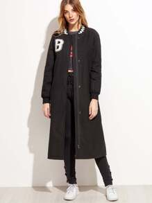 Black Letter Patch Band Collar Long Outerwear