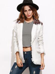 Blazer de tweed con flecos - blanco