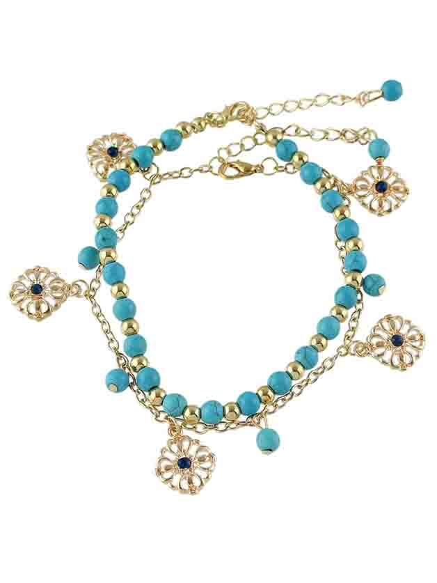 Image of Bohemian Style Gold Color Blue Beads Chain Anklet Set
