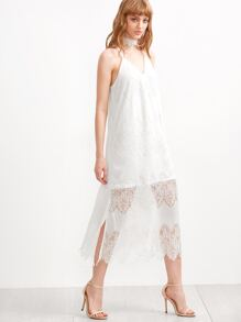 White Lace Overlay Slit Side Cami Dress