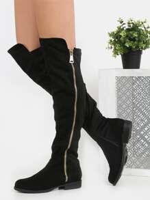 Exposed Zipper Flat Boots BLACK