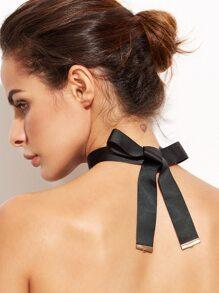 Black Ribbon Bow Tie Choker Necklace