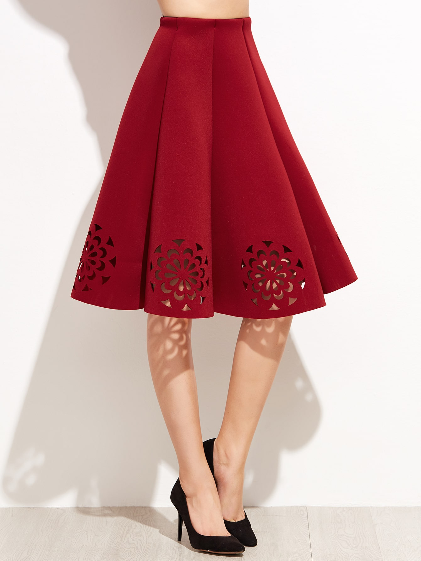 Burgundy Laser Cut Out Pleated Skirt