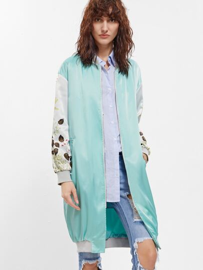 Green Flower Print Contrast Sleeve Zip Up Bomber Coat