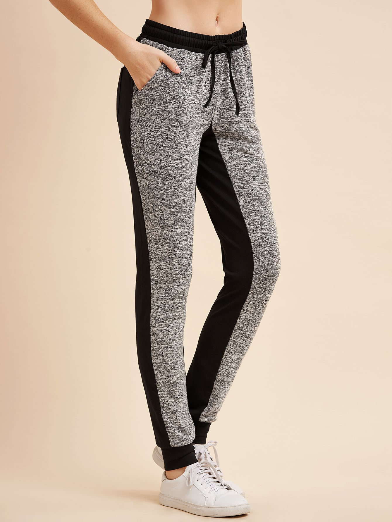 Image of Contrast Marled Knit Drawstring Sweatpants