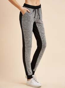 Contrast Marled Knit Drawstring Sweat Pants