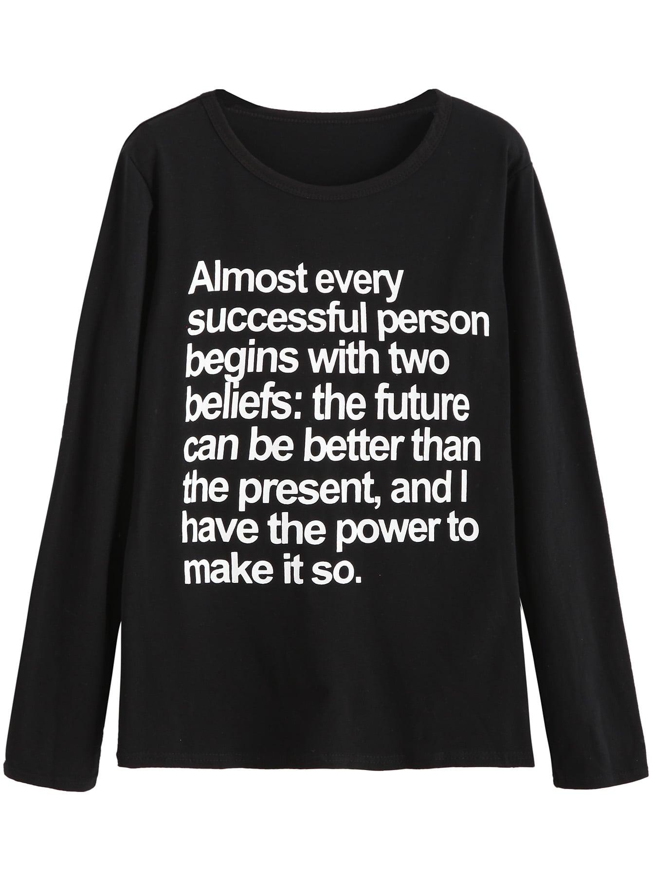 Black Slogan Print T-shirt tee160905121