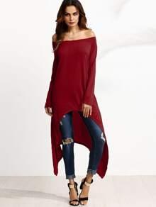 Burgundy Off The Shoulder Asymmetrical Top