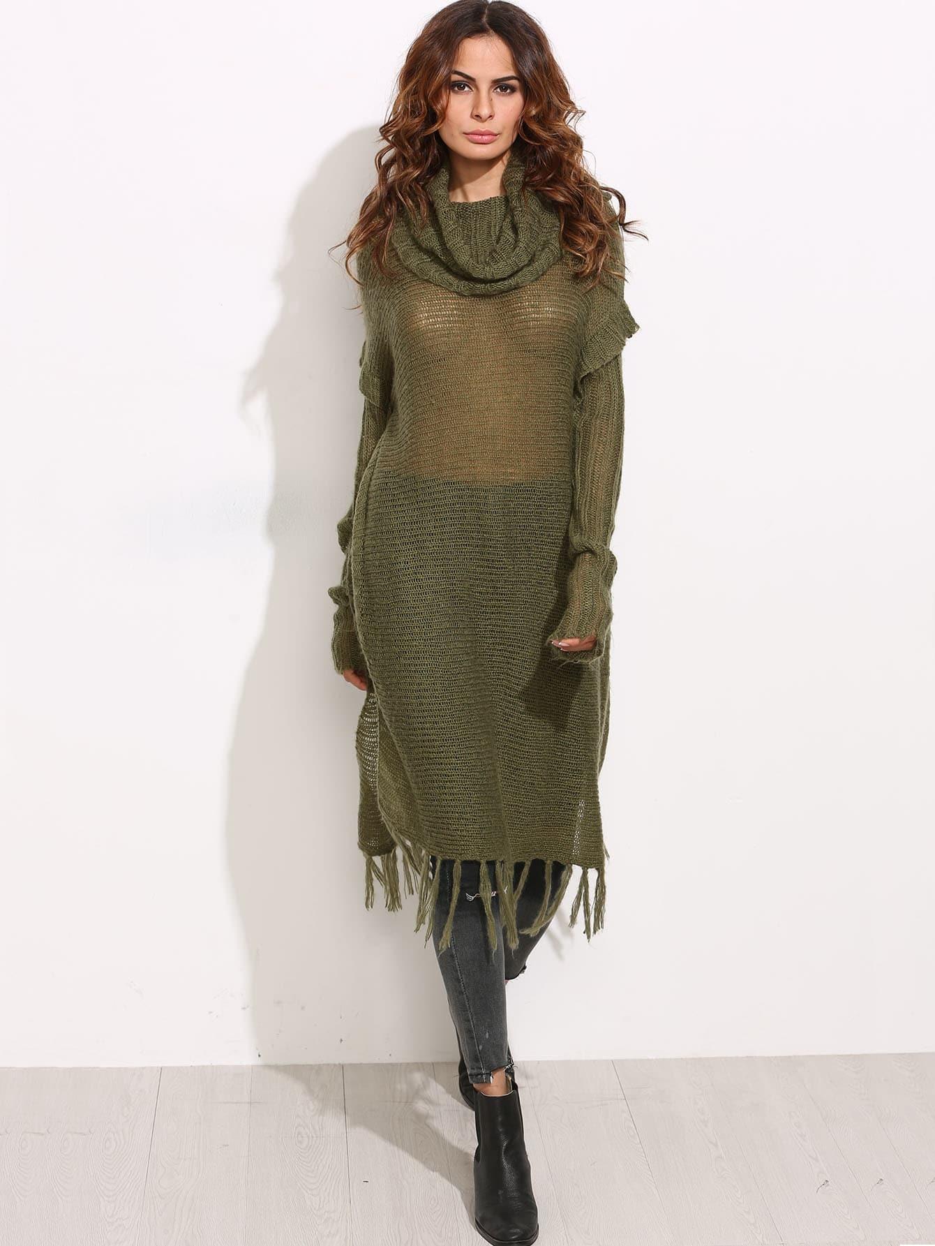 Olive Green Cowl Neck Loose Knit Longline Fringe Sweater -SheIn ...