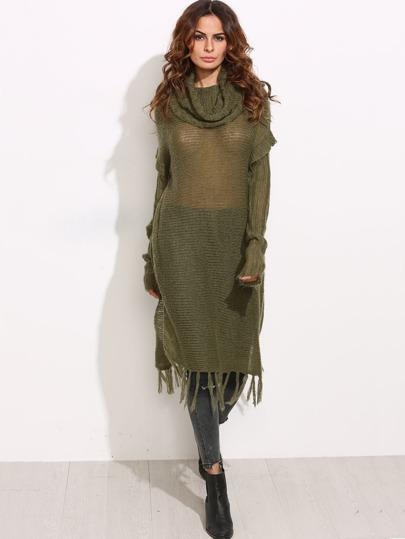 Olive Green Cowl Neck Loose Knit Longline Fringe Sweater