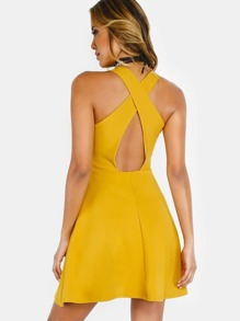 Backless Crossback Skater Dress MUSTARD