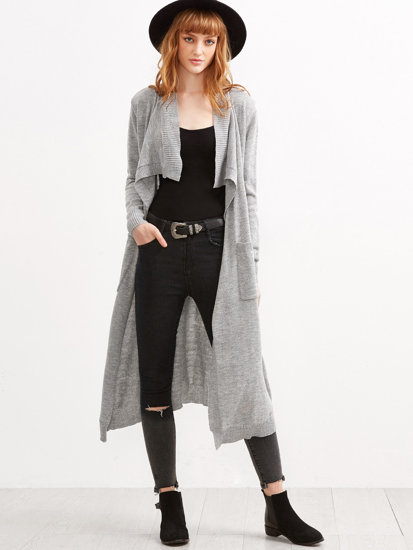 Grey Open Front Ribbed Trim Long Cardigan With Pockets sweater160915452