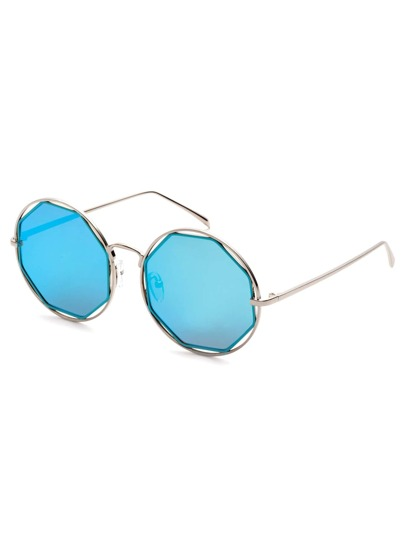 Silver Frame Blue Lens Hollow Out Sunglasses