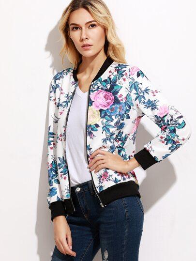 Contrast Trim Floral Print Bomber Jacket