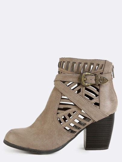 Tribal Cut Out Suede Boots TAUPE