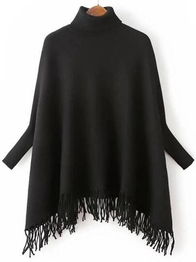 Black Turtle Neck Batwing Sleeve Fringe Cape Sweater