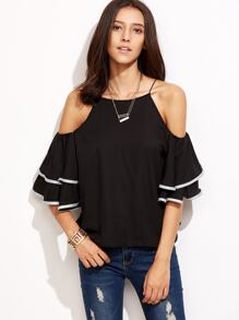 Contrast Trim Cold Shoulder Ruffle Top