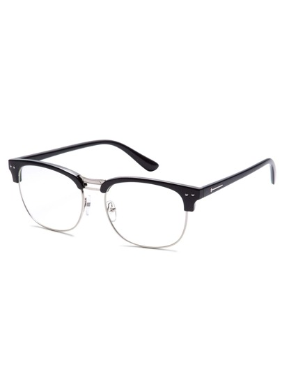 Black Open Frame Silver Trim Glasses