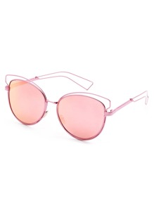 Rose Gold Frame Pink Lens Hollow Out Sunglasses